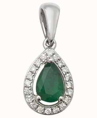 Treasure House 9ct White Gold Emerald And Diamond Pendant Only PD239WE