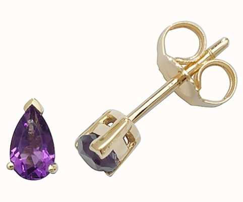 Treasure House 9k Yellow Gold Amethyst Teardrop Stud Earrings ED244A