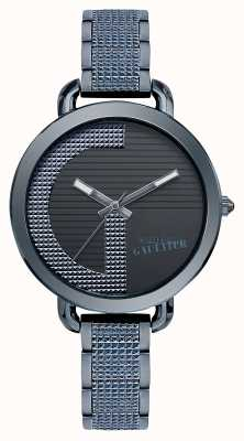 Jean Paul Gaultier Womens Index G Blue PVD Bracelet Black Dial JP8504319