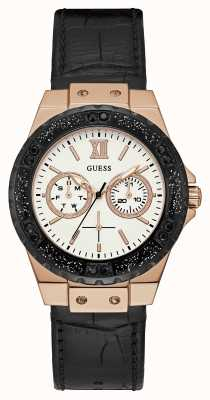 Guess Womens Limelight Sport Chronograph Black Leather W0775L9