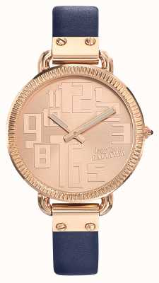 Jean Paul Gaultier Womens Index Blue Leather Strap Rose Gold Dial JP8504306