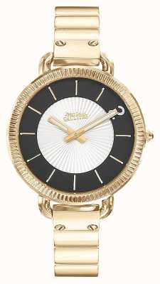 Jean Paul Gaultier Womens Index Gold PVD Bracelet Silver Dial JP8504303