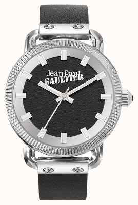 Jean Paul Gaultier Mens Index Black Leather Strap Black Dial JP8504407