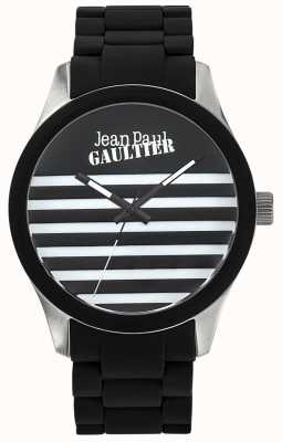 Jean Paul Gaultier Enfants Terribles Black Rubber Steel Bracelet Black Dial JP8501121