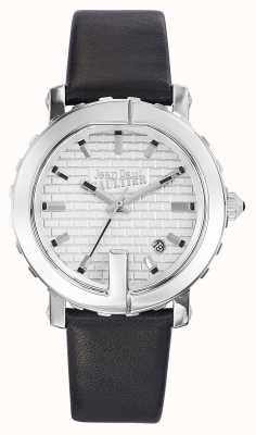 Jean Paul Gaultier Womens Point G Black Leather Strap Silver Dial JP8500515