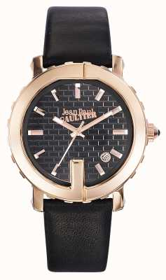 Jean Paul Gaultier Womens Point G Black Leather Strap Black Dial JP8500516