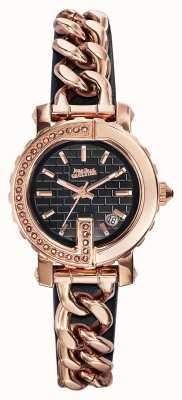 Jean Paul Gaultier Womens Point G - Mini Rose Gold PVD Bracelet Black Dial JP8503603