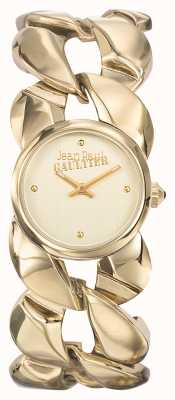 Jean Paul Gaultier Womens Maxi Chaine Gold PVD Bracelet Gold Dial JP8504602