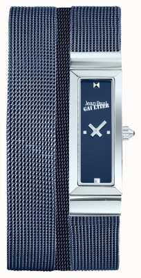 Jean Paul Gaultier Womens Cote De Maille Blue PVD Mesh Bracelet Blue Dial JP8503904