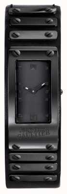 Jean Paul Gaultier Factory Black Leather Strap Rose Black Dial JP8503802