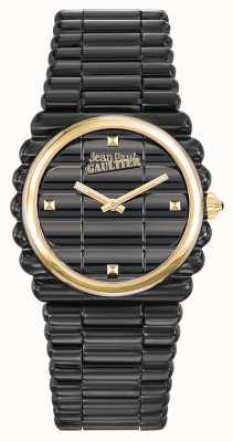 Jean Paul Gaultier Womens Bord Cote Black PVD Bracelet Black Dial JP8504105