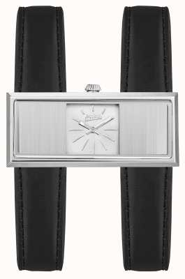 Jean Paul Gaultier Womens Double Jeu Black Leather Strap Silver Dial JP8505001