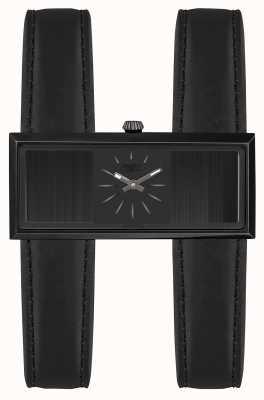 Jean Paul Gaultier Womens Double Jeu Black Leather Strap Black Dial JP8505002