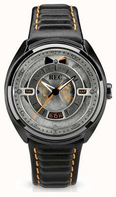 REC Porsche Automatic Black Leather Strap Grey Dial 901-03