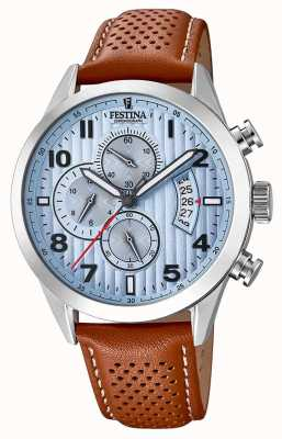 Festina Mens Sports Chronograph Watch Brown Leather Strap F20271/4