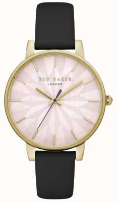 630aac367 Ted Baker Womens Kate Pink Floral Dial Gold Case Black Leather Strap  TE15200003
