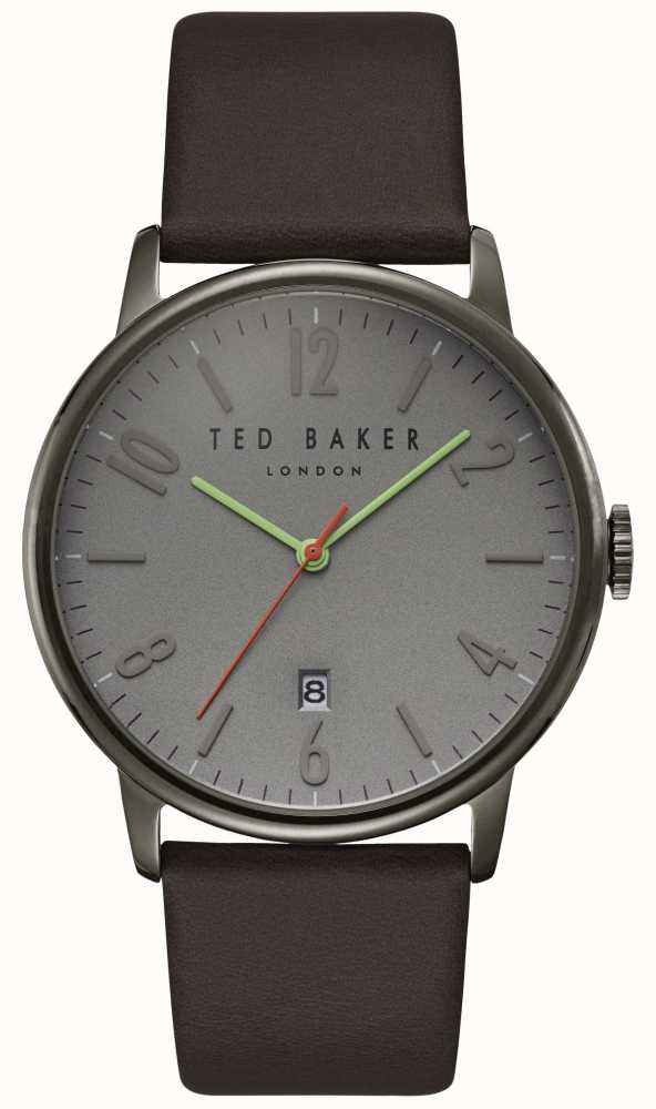 07a3628be72286 Ted Baker Daniel Grey Dial Date Display Dark Brown Leather Strap ...