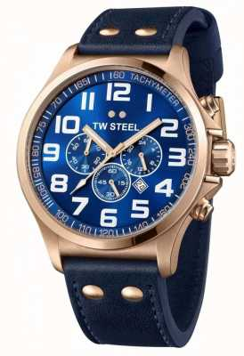 TW Steel Mens Pilot Chronograph Blue Leather Strap Blue Dial TW0407