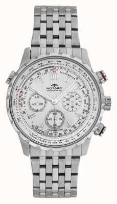 Rotary Mens Chronograph Stainless Steel Bracelet White Dial GB00175/06S