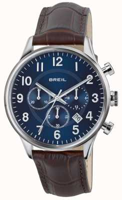 Breil Contempo Stainless Steel Chronograph Blue Dial Brown Strap TW1576