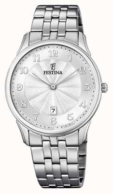 Festina Classic Patterned Dial Stainless Steel Bracelet Silver Dial F6856/1