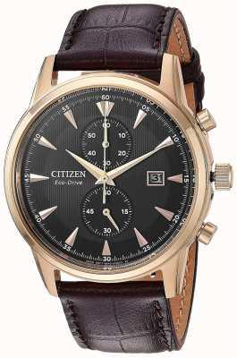 Citizen Mens Chronograph Date Brown Leather Strap CA7003-06E