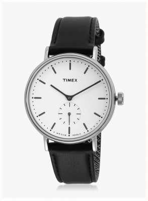 Timex Fairfield Sub-second Silvertone Case White Dial Black Strap TW2R38000