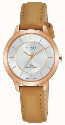 Pulsar Womens Rose Gold Plated Case Tan Leather Strap PH8374X1