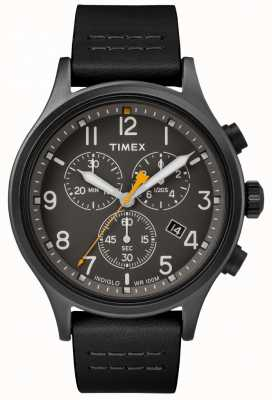 Timex Allied Chrono Black Leather Strap/Black Dial TW2R47500