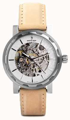 Weird Ape Kolt silver and silver dial sandstone suede strap WA02-005533