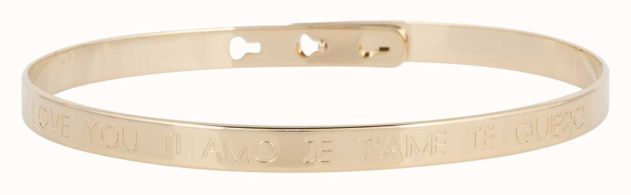 "Mya Bay Gold PVD Plated ""je'aime I Love You Ti Amo Te Quiero"" Bangle JC-03.G"