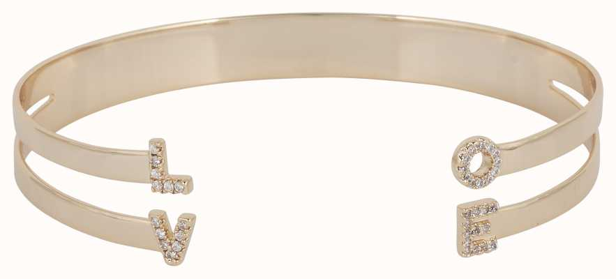 "Mya Bay Gold PVD Plated ""love"" Bangle With Stones JC-LO-01.G"