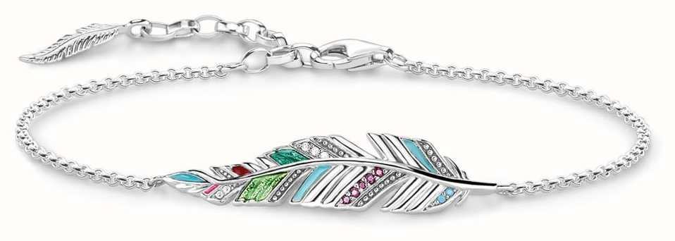 Thomas Sabo Womens Glam And Soul Sterling Silver Feather Bracelet A1749-340-7-L19V