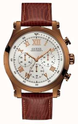 Guess Anchor Mens Sport Chronograph Brown Round W1105G2