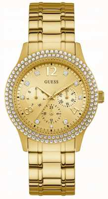Guess Bedazzle Womens Sport Multi Gold Round W1097L2