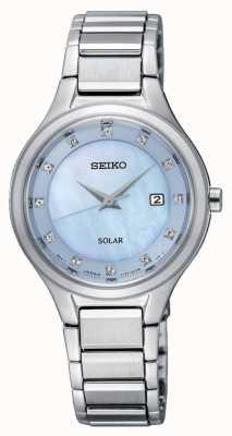Seiko Womens Coutura Solar Silver Bracelet Light Blue Dial SUT351P9