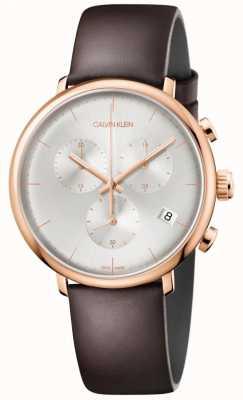 Calvin Klein Mens High Noon Rose Gold Case Brown Leather Strap K8M216G6