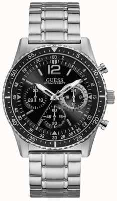 Guess Launch Mens Sports Chronograph Silver Round W1106G1
