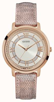 Guess Montauk Womens Dress Analogue Rose Gold Round W0934L5