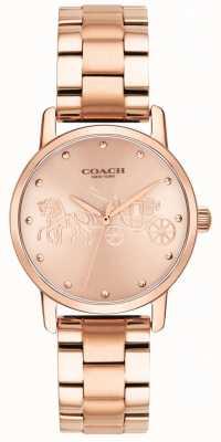 Coach Womens Grand Rose Gold Bracelet & Case Watch 14502977