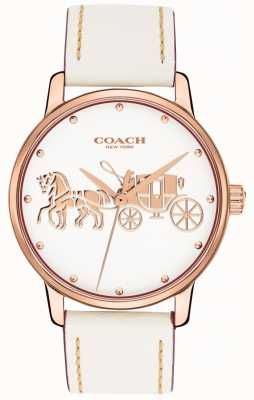 Coach Womens Grand White Leather Strap Rose Gold Case White Dial 14502973