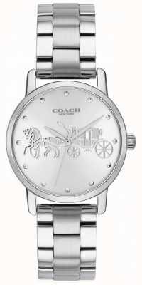Coach Womens Grand Black Case & Bracelet Silver Stainless Steel 14502975