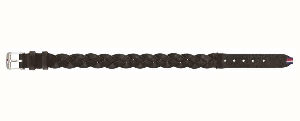Tommy Hilfiger Black Braided Leather Belt Bracelet 2790013