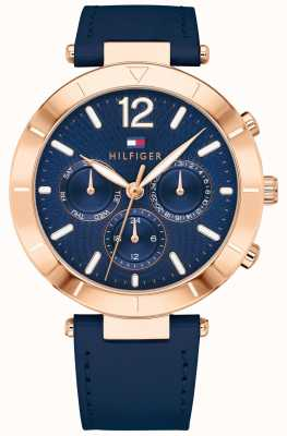 Tommy Hilfiger Womens Chloe Watch Day Date Blue Silicone Trap 1781881