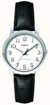 Timex Womens 30mm Easy Reader Black Croc Strap White Dial TW2R65300