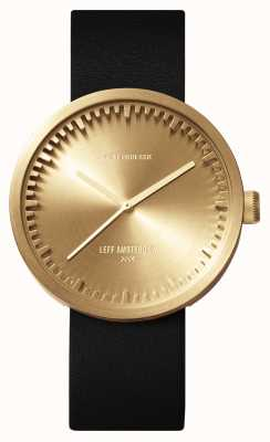Leff Amsterdam Tube Watch D42 Brass Case Black Leather Strap LT72021