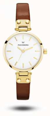 Mockberg Ilse Petite Brown Leather Strap White Dial MO208