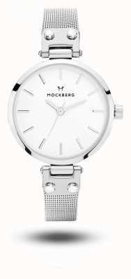 Mockberg Elise Petite Stainless Steel Mesh Bracelet White Dial MO402