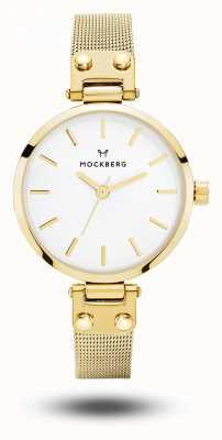 Mockberg Women's Livia Petite Gold Mesh Bracelet White Dial MO401