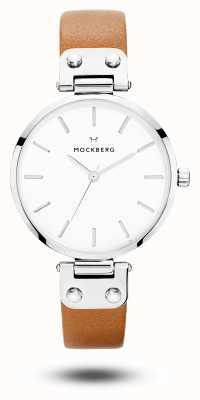 Mockberg Wera Brown Leather Strap White Dial MO1006